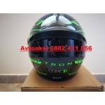 Каска за Мотор Лукс черно/зелено -F939A