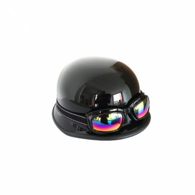 Ретро каска тип канче + очила черна лак -130