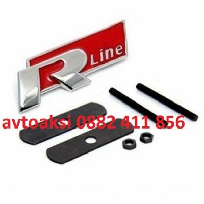 Емблема R line за предна решетка метална Червена