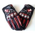 Мото ръкавици черно-червени с протектори
