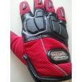 Мото ръкавици с гумен протектор в три цвята!!! Червени