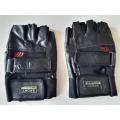 Мото ръкавици без пръсти естествена кожа